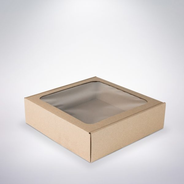 Krabička s okienkom 250x250x70 hnedá